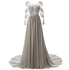 New wedding dress high-end women's evening dress long-sleeved
