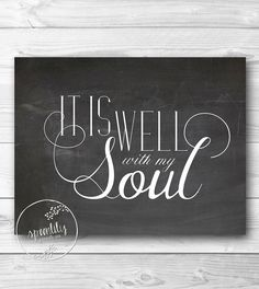 Bible Verse Art print, Scripture wall art decor, Calkboard style, nursery bible verse - It is well with my soul - 8x10 WALL ART