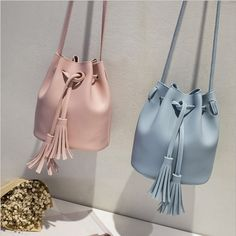 3df4fe34a1 fashion pu leather women  s bag shoulder Messenger bag retro tassel bucket  bag for lady