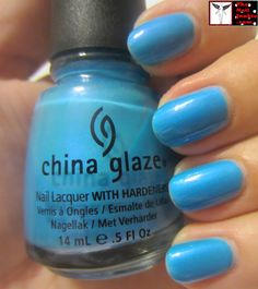 The Nail Junkie: Bright Blue Mani with Stamping