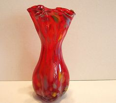Antique End of Day Art Glass Vase Red Handkerchief Top Ruffled Pinched Mottled