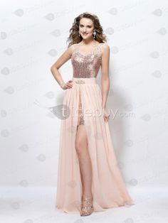 Fashion Straps V-Neck Beading Sequins A-Line Floor-Length Prom Dress : Tidebuy.com