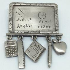 Signed JJ Vintage MATH ALGEBRA BROOCH PIN Chalk Board Calculator Ruler Pewter #JJ $5.00 Sale! #ebay #vintagebrooch #math #jonettejewelry