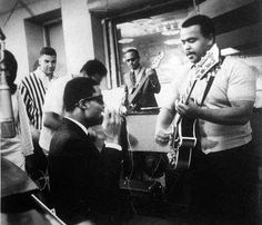In the Motown studio with Stevie Wonder, Norman Whitfield, James Jamerson on bass and Robert White on guitar.