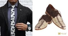 #styletips #achillesheel Derby shoe in coffee suede leather with checkered fabric can be clubbed wid some #quirky fun like dis #bird #monochrome #tie #fashion #mensfashion #footwearfashion #houseofAH #niraliruparel #NlovewithAH #achillesheelshoes