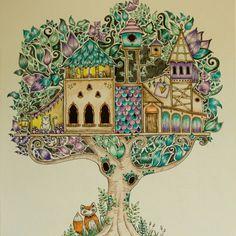 1. obrázek z Enchanted Forest hotový #secretgarden #johannabasford #jardimsecreto #enchantedforest #coloringbook