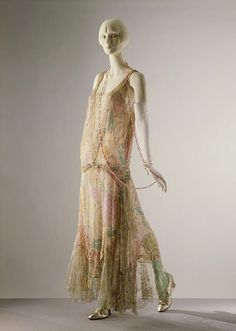 Callot Soeurs - 1922 Printed silk voile embroidered with sequins and glass bugle beads, and trimmed with lace
