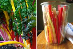 Young and tender chard stems require little extra thought, but when the stalks turn thick, and perhaps stringy, it's usually best to trim them from the leaves. That doesn't mean you should toss them in the compost or garbage bin, though. Treat them as ano Swiss Chard Stem Recipe, Swiss Chard Recipes, Gourmet Recipes, Real Food Recipes, Canning Recipes, Yummy Recipes, Dinner Recipes, Yummy Food, Tasty