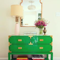 """May your day be touched by a little Irish luck #LVMkt exhibitor @bungalow5's laquer Tansu Console is bright and bold in this design project from…"""