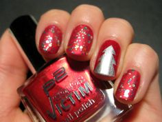 This collection of Christmas nail art designs has been brought together to give you inspiration when planning your seasonal nail designs. Christmas Nail Polish, Christmas Tree Nails, Xmas Nails, Holiday Nails, Christmas Time, Silver Christmas, Xmas Tree, Christmas Manicure, Christmas Lights