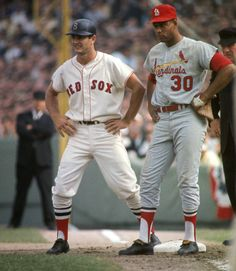 1967 World Series Boston Red Sox Carl Yastrzemski on first base vs St. Louis Cardinals Orlando Cepeda during game at Fenway Park. Best Baseball Player, Baseball Star, Baseball Photos, Baseball Cards, Boston Sports, Boston Red Sox, Boston Baseball, Cardinals Baseball, St Louis Cardinals