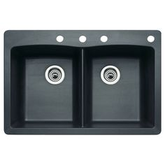 Blanco Diamond 22-In X 33-In Anthracite Single-Basin-Basin Granite Drop-In Or Undermount 4-Hole Residential Kitchen Sink