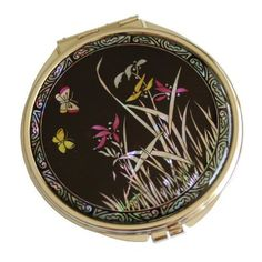 "Amazon.com: Pocket, Compact Mirror From Korea Handcraftted with Colorfull Mother of Pearl Inlays, Good Quality, Authentic Design - Couple of Butterfly and Orchid ""Nanchodo"": Office Products"