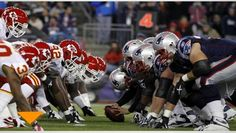 The New England Patriots will host the Kansas City Chiefs in the kick off of the Denver Broncos Game, College Football Playoff, Football Hall Of Fame, Patriots Football, Nfl Packers, Football Helmets, Patriots 2017, Panthers Game, Peach Bowl