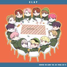 seventeen fanart Kpop Drawings, Cute Drawings, Anime Chibi, Anime Art, Jeonghan Seventeen, Cartoon Fan, Fan Art, Kpop Fanart, Woozi