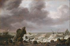 Simon de Vlieger - Schepen in nood op een rotsachtige kust (1630)