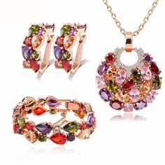 Women's Crystal Earrings, Bracelet and Necklace Combo