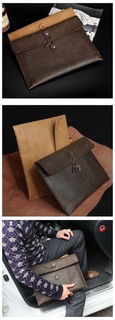 Men's Handmade Vintage 100% Genuine Leather Envelope Clutch Bag