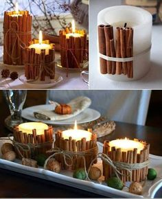 I love the idea of cinnamon sticks and candles...maybe string some cranberries together too...