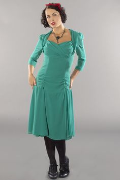 emmydesign - the glory of the past chiffon dress. emerald green