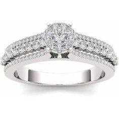 Imperial 1/2 Carat T.W. Diamond Split Shank Cluster 10kt White Gold Engagement Ring