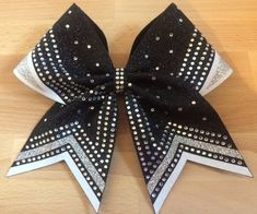 Black, white and silver vinyl rhinestone bow