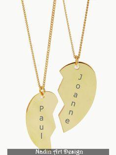 Beste Freunde Halskette / Goldener Herzanhänger von EngravedJewelry auf DaWanda.com