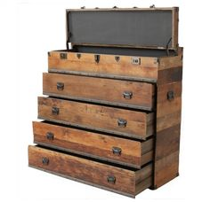 How To Make A Chest Of Drawers From Pallets - WoodWorking Projects & Plans Antique Furniture, Cool Furniture, Furniture Design, Chest Furniture, Tool Storage, Garage Storage, Storage Ideas, Garage Organization, Organization Ideas