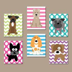 Girl DOG Nursery Wall Art Canvas or Prints Baby Girl Nursery Decor, Puppy Art, Girl Bedroom Decor, Dog Theme, Dog Wall Decor Set of 6 Decor Puppy Nursery, Puppy Room, Baby Girl Nursery Decor, Nursery Themes, Nursery Ideas, Kids Wall Decor, Playroom Decor, Dog Bedroom, Bedroom Decor