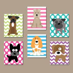 DOG Nursery Wall Art, CANVAS or Prints Baby Girl Nursery Artwork, Puppy Art, Girl Bedroom Decor, Dog Theme, Dog Pictures, Set of 6 Decor