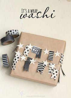 Wil je je kerstpakje ook in een oogverblindende verpakking presenteren? Probeer zeker eens dit inpakidee met washi tape! #inpakken #cadeau