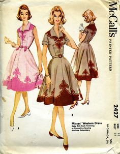 McCall's 2427 Misses' Western Dress with baby rick rack trimming, decorative sewing, or machine embroidery Vintage Dress Patterns, Clothing Patterns, Vintage Dresses, Sewing Patterns, Vintage Outfits, Mccalls Patterns, Sewing Ideas, Sewing Projects, Vintage Western Wear