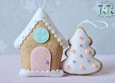 Adornos de Navidad JUEGO de 6 adornos de fieltro adornos de