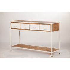 Console design à tiroirs bois métal blanc