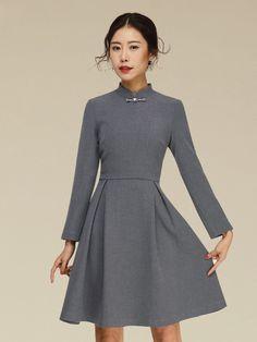 A-Line Qipao / Cheongsam Dress with Long Sleeves
