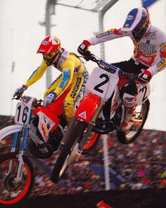 Glen Bell and Jeff Stanton  doing a little close formation flying during the 1990 JAPAN Supercross -