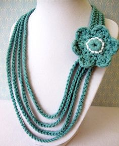 Crochet Chain and Flower Necklace in Teal