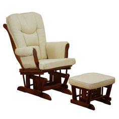 Baby Nursery Glider W/ Ottoman Rocking Chair Set Sleigh Design Cherry Finish