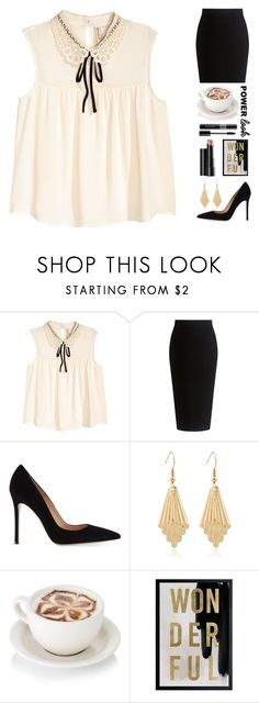 """Power Look: Necktie Blouse + Pencil Skirt"" by random11-1 ❤ liked on Polyvore featuring Theory, Gianvito Rossi, Arbonne, Oliver Gal Artist Co., Christian Dior and MyPowerLook"