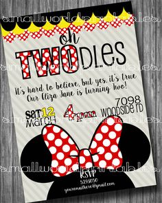 Custom Minnie Mouse Oh TWOdles Toodles Printable Birthday invitation by SmallWorldPrintables