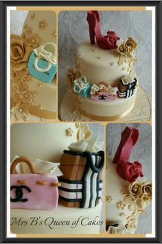 Shopping and shoes cake. https://www.facebook.com/Mrs-Bs-Queen-of-Cakes-172111556177745/timeline/