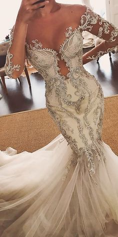 33 Romantic Off The Shoulder Wedding Dresses ❤ off the shoulder wedding dresses mermaid sweetheart neck lace illusion long sleeves leah da gloria ❤ See more: http://www.weddingforward.com/off-the-shoulder-wedding-dresses/ #weddingforward #wedding #bride