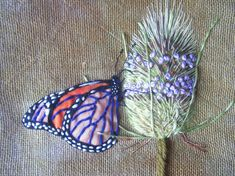 ♒ Enchanting Embroidery ♒ embroidered butterfly on thistle Butterfly Embroidery, Silk Ribbon Embroidery, Embroidery Applique, Cross Stitch Embroidery, Embroidery Patterns, Contemporary Embroidery, Textiles, Thread Art, Embroidery Techniques
