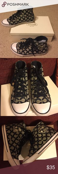 Coach sneakers Ivory and black Coach high top sneakers Coach Shoes Sneakers