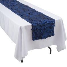 Petal Fabric Table Runner, Navy, Blue