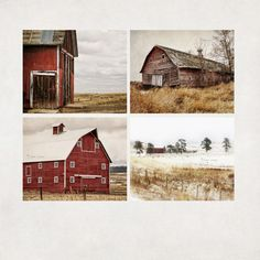 Landscape Photos Barn Prints Farmhouse Wall Art Red & by AgedPage