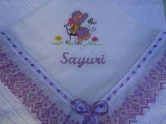 Manta de fralda personalizada com bordado a máquina, lese e passa fita. R$ 38,50