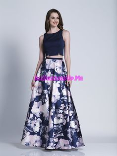 Leave the crowd with their jaws dropped in this Two Piece Keyhole Floral Printed A-line Prom Dress by Dave and Johnny. This style includes a jewel neckline with a fitted bodice, an A-line floral printed skirt, and a keyhole slit back. A Line Prom Dresses, Trendy Dresses, Fashion Dresses, Farewell Dresses, Stylish Blouse Design, Indian Gowns, Lehenga Designs, Floral Print Skirt, Two Piece Dress
