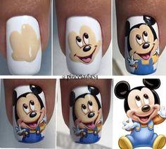 Nail Art Blog, Nail Art Diy, Easy Nail Art, Pretty Nail Designs, Simple Nail Art Designs, Christmas Nail Art Designs, Christmas Nails, Minnie Mouse Nail Art, Cute Spring Nails