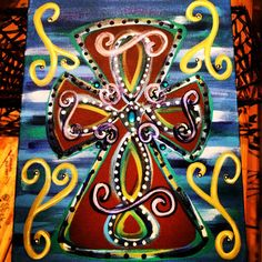 Funky Cross 16 x 20 Acrylic Painting. $30.00, via Etsy.